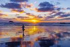 Travel blogger Carmen Huter at Muriway Bay. Photo / Carmen Huter