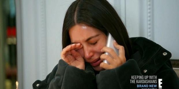 Kim breaks down in tears as she hears about Kanye's breakdown