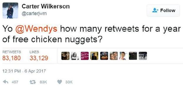 Teen's tweet for free Wendy's nuggets could be most retweeted ever