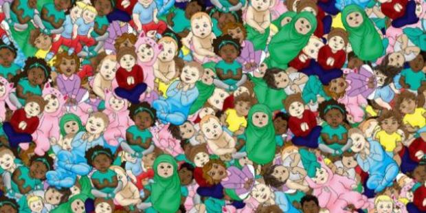 A sleeping tot is hiding in a crowded image sporting dozens of wide awake babies, can you find her? Photo: Twitter - @ChannelMum
