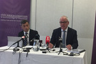 Michael Heron QC (left) and State Services Commissioner Peter Hughes speak about a report into allegations against three Canterbury Earthquake Recovery Authority employees. Photo / Supplied