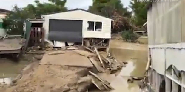 Loading Ursula and Noel Mayo's shed and driveway have been torn apart by ferocious flood waters tearing through their property. Photo/Facebook
