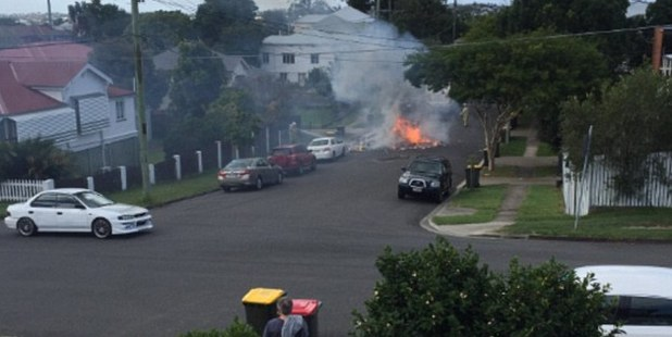 Smoke was seen billowing across the residential area in Brisbane's south. Photo/Twitter