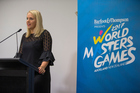 World Masters Games 2017 chief executive Jennah Wootten speaks during a 2017 press conference. Photo/Photosport