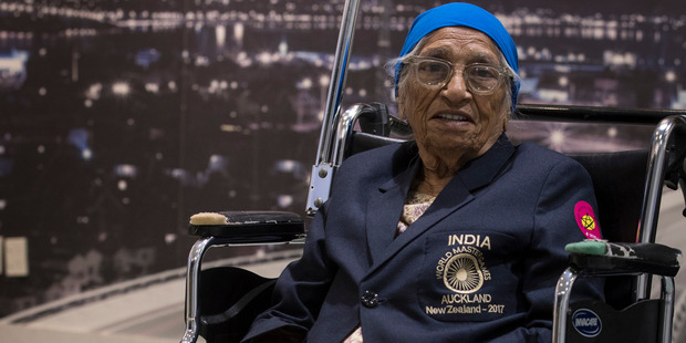 Loading 2017 World Masters Games competitor 101 year old Man Kaur arrives in Auckland on Monday night. Photo / Greg Bowker
