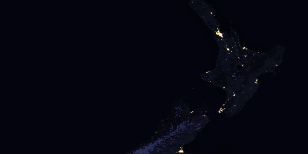 The latest image of New Zealand at night , taken from space by NASA's VIIRS satellite project
