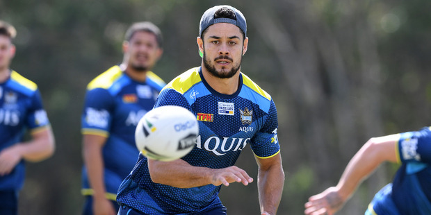Jarryd Hayne ran freely at training this week and has been named on an extended Titans bench for tomorrow night's game. Photo / AAP