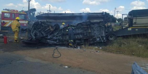 A number of schoolchildren were killed when a minibus they were in crashed into a truck and exploded into a ball of fire in Mpumalanga province, in South Africa. Picture: Twitter.