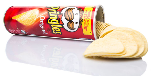 It turns out that only one side of a Pringle is covered in seasoning, while the other is left bare. Photo / 123RF