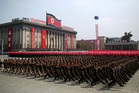 Soldiers march across Kim Il Sung Square on Saturday during a military parade in Pyongyang, North Korea. Photo / AP