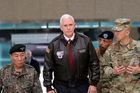 US Vice-President Mike Pence arrives at the border village of Panmunjom in the Demilitarised Zone, South Korea. Photo / AP