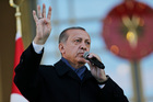 Turkey's President Recep Tayyip Erdogan a day after the referendum, outside the Presidential Palace, in Ankara. Photo / AP