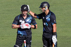 Black Caps captain Brendon McCullum get a pat on the head from former Black Caps skipper Ross Taylor. Photo / Paul Taylor