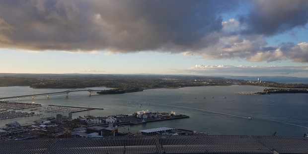 Auckland from the Sky Tower, shot through the window with the Samsung Galaxy GS8. Photo / Juha Saarinen