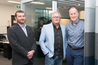 Acoustics expert Colin Rawlings (left), Paul van Dorsten (Europlan) and Phil Robbins (Orangebox) at Bayleys head office. Photo/Supplied