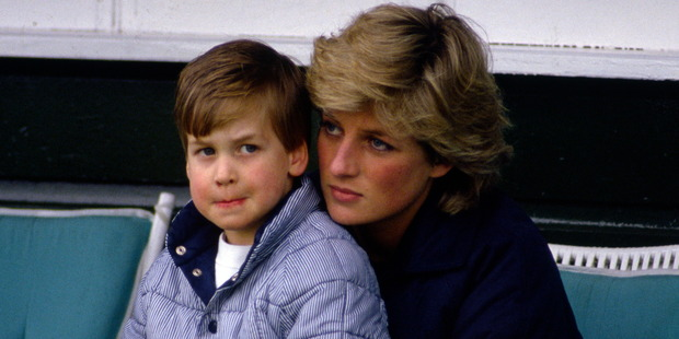 Prince William with his mother Diana. Photo / Getty Images
