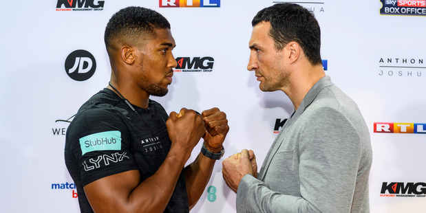 Anthony Joshua (left) and Wladimir Klitschko pose prior to their April 29 fight at Wembley Stadium. Photo / Getty Images.