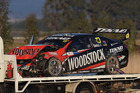 The car of Will Davison after the race three crash in Tasmania. Photo / Getty Images