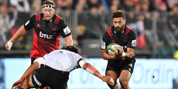 Richie Mounga of the Crusaders charges forward. Photo / Getty