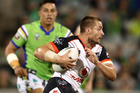 Kieran Foran in action during the loss to the Canberra Raiders. Photo / Getty Images