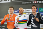 Ethan Mitchell (right) poses with his bronze medal after the men's sprint final at the UCI Track Cycling World Championships in Hong Kong. Photo / Getty Images.