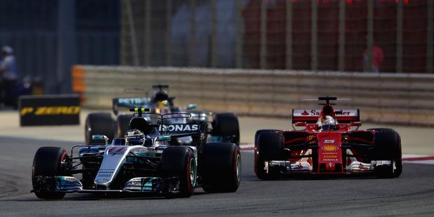 Valtteri Bottas leads Sebastian Vettel in Bahrain. Photo / Getty Images