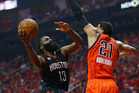 Houston's James Harden drives to the basket on OKC's Andre Roberson during the Rockets and Thunder's playoff clash in Houston, Texas earlier today. Photo / Getty Images.