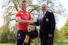 Lions coach Warren Gatland and captain Sam Warburton at today's squad announcement. Photo / Getty