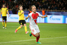 Valere Germain celebrates after scoring for Monaco during their 3-1 win over Borussia Dortmund at Stade Louis II, Monaco this morning (NZT). Photo / Getty Images.