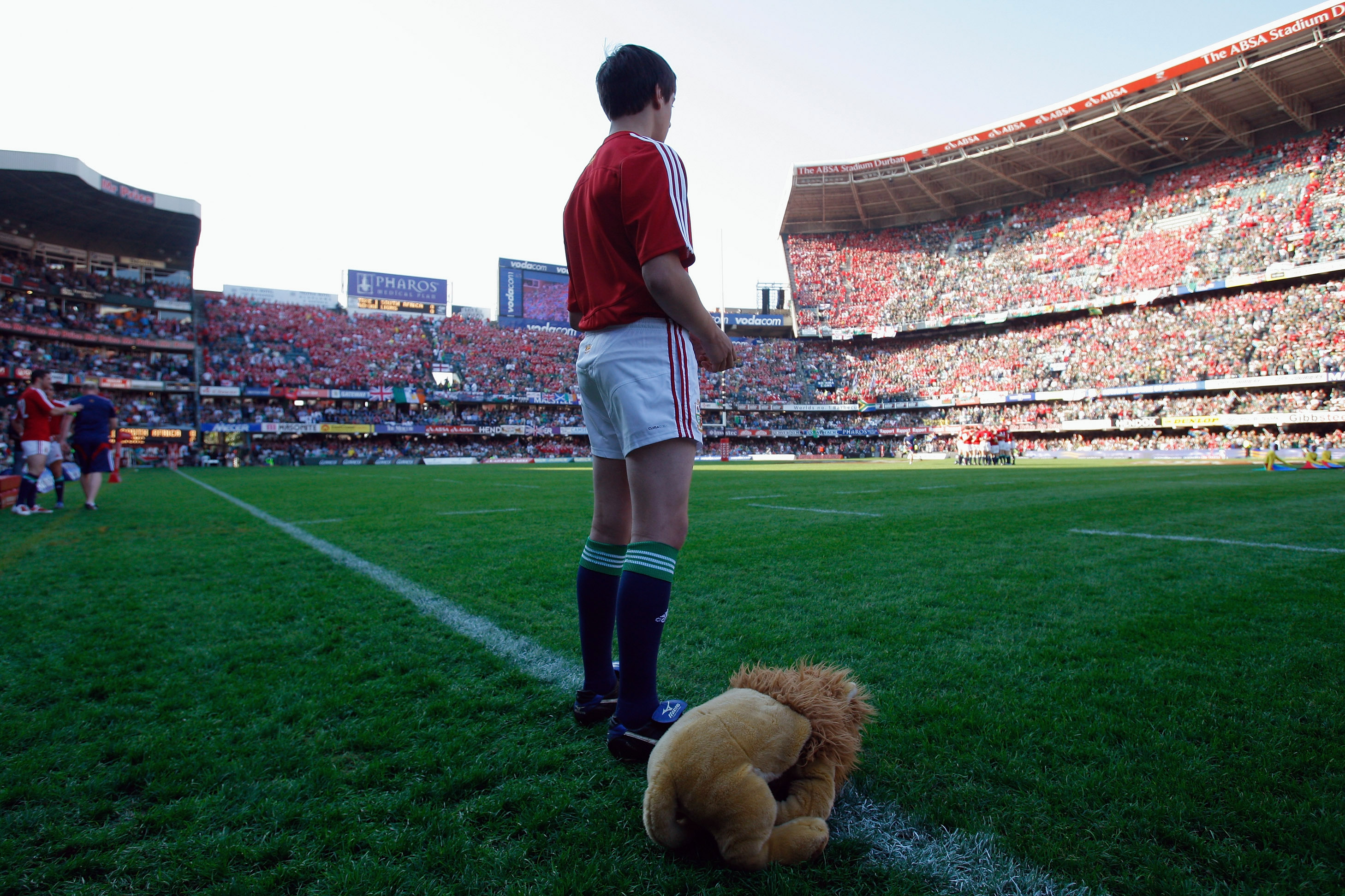 The Lions mascot on the Kings Park sideline during the Lions' clash against South Africa in 2009. Photo / Getty Images.