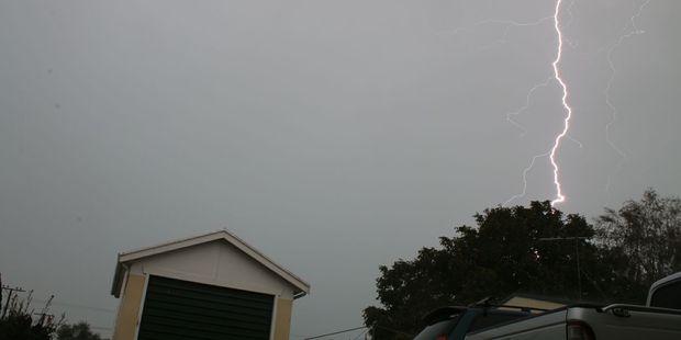 Spectacular forked lightning hits Gisborne. Photo / Phill Clayton