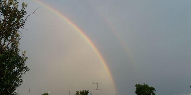 A double rainbow graces Gisborne after the storm moves through. Photo / Karen Morrow
