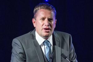 Auckland Cricket CEO Mark Cameron speaking at the Auckland Cricketer of the Year Awards. Photo / Photosport