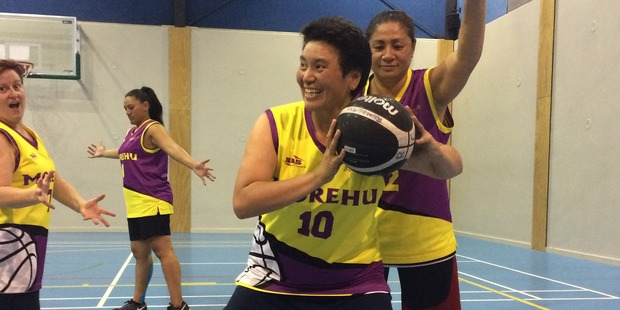 Monica Mercury posts up, as her Morehu team prepare for the World Masters Games. Photo supplied.