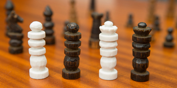 Chess pieces carved by Harry Bourke in Belgium, 1917 and examples of missing pieces reconstructed by his great-granddaughter, Alice Moore, using 3D printing. Photo / Mark Mitchell