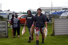 Easter Fishing competitors Vaughn Ranginui and Lennard Parkes head for the weigh-in at Castlecliff.
