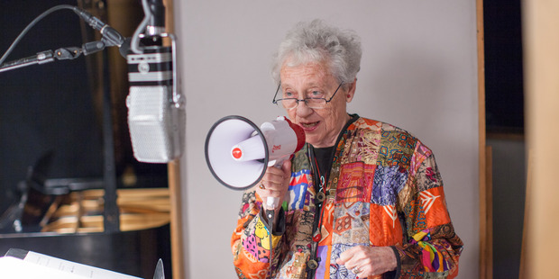 Ilsa Gilbert recites poetry from the rooftop of Westbeth Artists Housing in New York City.
