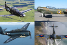 The four aircraft that will make a flypast over the region on Anzac Day morning. Photo/Supplied