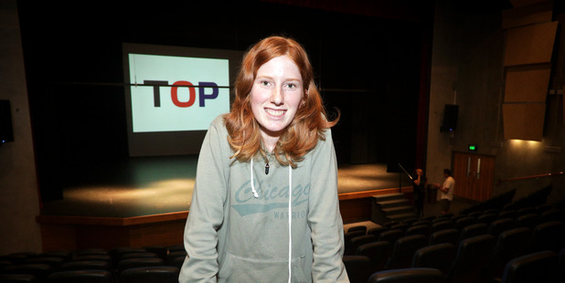 First-time voter Sophie Napier, 18, was in the audience at Tauranga Boys College auditorium yesterday. Photo/Andrew Warner.
