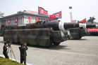 A North Korean KN-08 Intercontinental Ballistic Missile (ICMB) is displayed during a military parade. Photo / AP