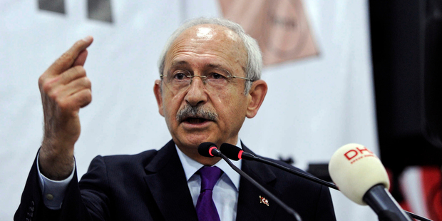 Turkey's main opposition Republican People's Party leader Kemal Kilicdaroglu addresses his supporters during a last referendum rally in Ankara on Saturday. Photo / AP