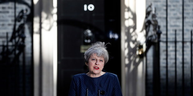 May announces the snap election. Photo / AP
