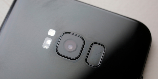 The camera lens shown on the back of the Samsung Galaxy S8 Plus. Photo / AP