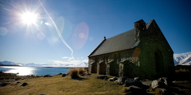 The Church of the Good Shepherd, built in 1935 as a memorial to the pioneers of the Mackenzie Country, at Lake Tekapo in the South Island. Photo / Dean Purcell