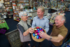 Rotorua mayor Steve Chadwick, MP Todd McClay and McLeod's Booksellers' Mike Byrne celebrate Easter Sunday trading. Photo/Ben Fraser