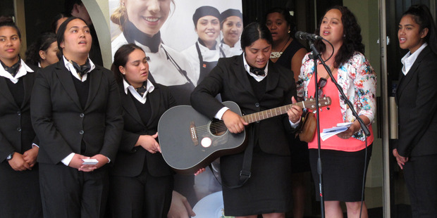 QRC hospitality management students perform a waiata during the opening ceremony.