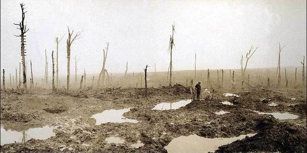 Harry Bourke, part of a Lewis Gun team on the Western Front, survived two bloody battles at Passchendaele, pictured. Photo / File
