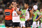 Referee Adam Gee places Bodene Thompson of the Warriors on report during the round seven NRL match between Raiders and Warriors. Photo / Getty Images