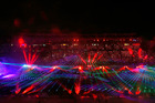 A laser light show opens the World Masters Games Opening Ceremony at Eden Park. Photo / Getty Images