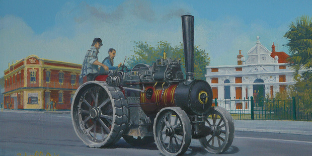 John Archbold's painting of Johnny McClune (left) travelling through Marton last year.